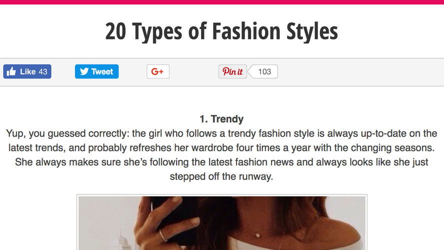 Example fashion blog post