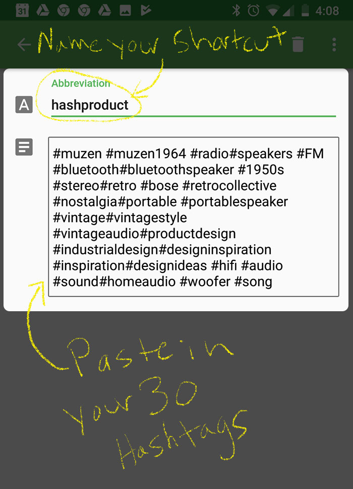 Instagram Hashtag Shortcut Setup on Mobile Phone Step 1