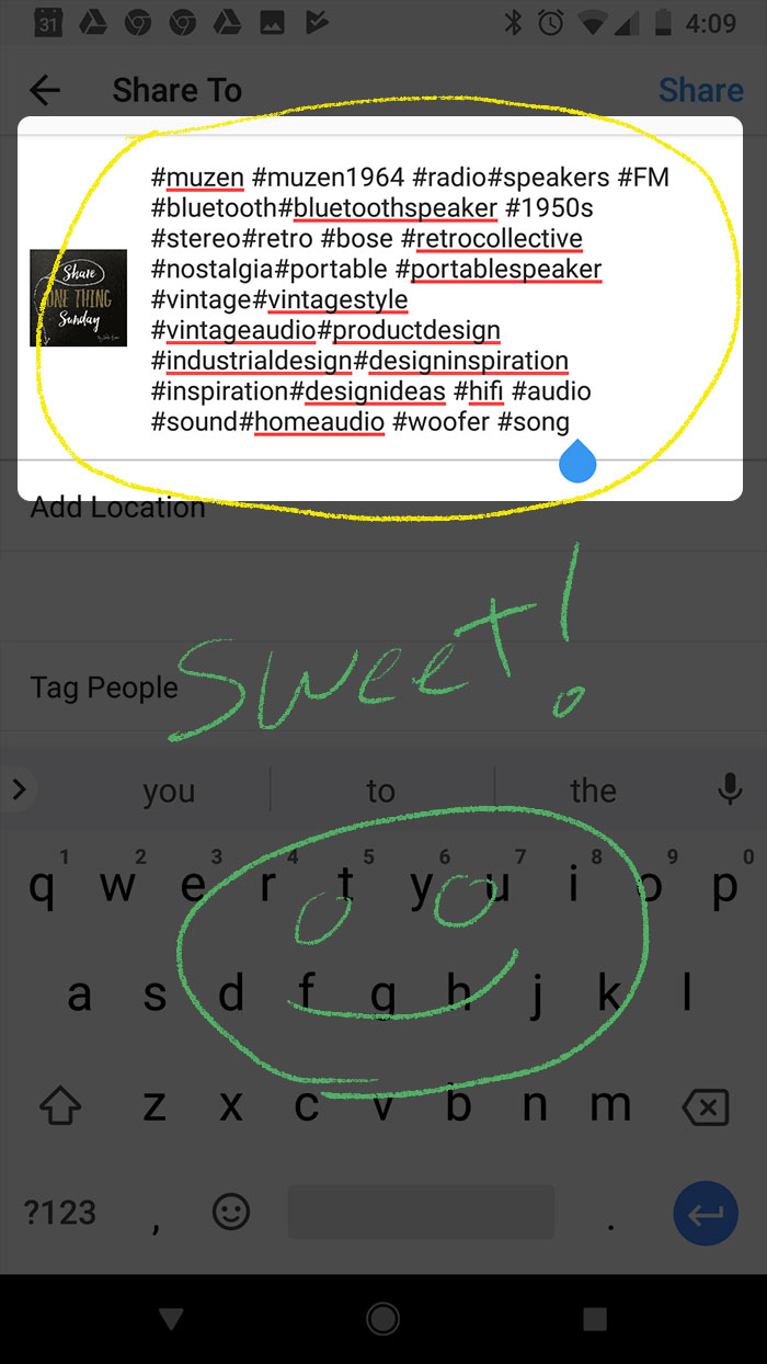 Instagram Hashtag Shortcut Step 3