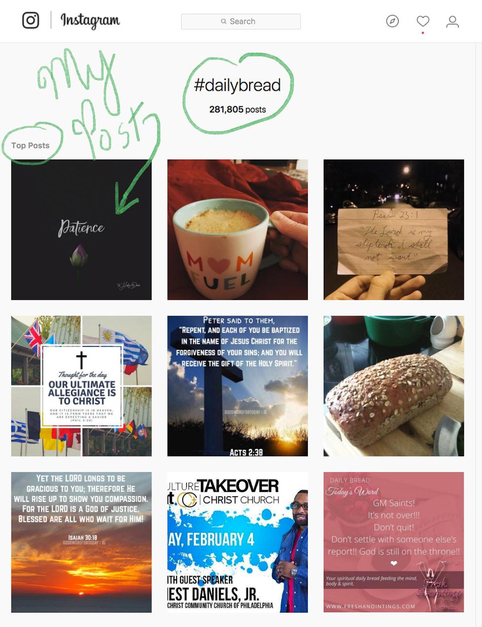 Top Ranking Hashtag Instagram Example