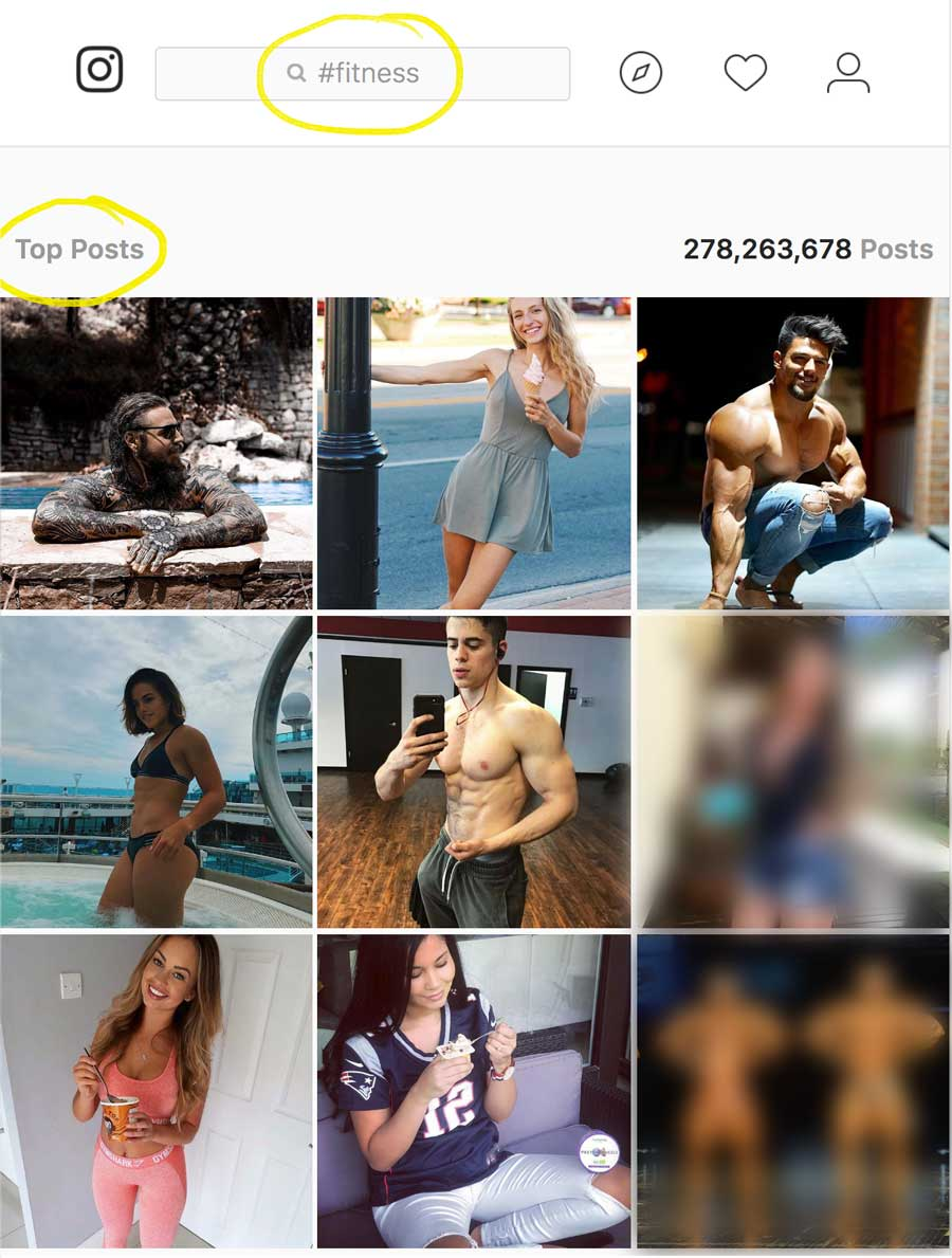 Example of Instagram Top 9 Posts for Fitness Hashtag